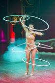 Acrobat woman at circus spectacle — Stock Photo