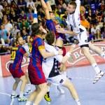 Handball match FC Barcelona vs Kiel — Stock Photo #38585397