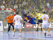 Handball match FC Barcelona vs Montpellier — Stock Photo