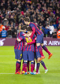 Barcelona players celebrating a goal — Stock Photo