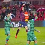 Fabregas celebrating a goal — Stock Photo