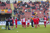 Football players warmup — Stock Photo