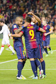 FCB players celebrating a goal — Stock Photo