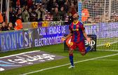 Seydou Keita celebrating a goal — Stock Photo