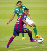 Dani Alves in action — Stock Photo