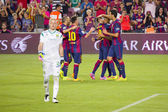 FC Barcelona goal celebration — Stockfoto