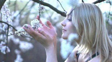 Women smelling on white flowers in springtime — Stock Video