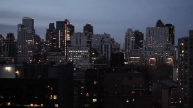 New york city alla veduta aerea di notte — Video Stock