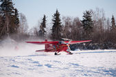 Airport on ice lake, Winter scene — Stockfoto