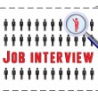Job Interview with magnifier — Stock Vector