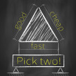 Pick two concept on blackboard — Stock Photo