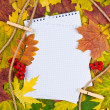 Stock Photo: Paper in autumn background