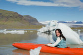 Woman is kayaking in Norway — Stock Photo
