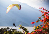 Paragliders landing among the mountains and lake of flowers. Himalaya, Annapurna Pokhara — Stock Photo