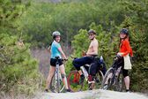 Friends of mountain bikes — Stock Photo