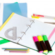 School supplies with a notebook a pens a pensils and other — Stock Photo #27383053