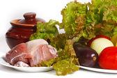 Bodegón de verduras y carne para cocinar — Foto de Stock