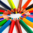 Many colored pencils in round — Stock Photo