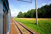 Prędkości pociągu po szynach w pobliżu lasu — Zdjęcie stockowe