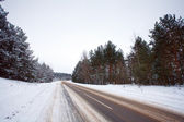 Winter road and the forest in snow — Foto de Stock