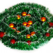 Christmas wreath of tinsel and balls — Stock Photo