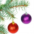 Stock Photo: Red and violet balls on Christmas tree