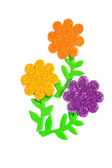 Card with colored flowers as applique — Stock Photo