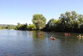 Canoeing on the Dordogne river — Stock Photo