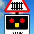 Stock Photo: Advance warning of light signals at Level crossing with barrier or gate ahead