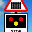 Advance warning of light signals at a Level crossing with barrier or gate ahead — Stock Photo
