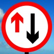 Give priority to vehicles from opposite direction traffic sign — Stock Photo
