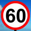 60 mph speed limit sign - Stock Photo