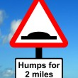 Warning triangle Distance over which road humps extend — Stock Photo