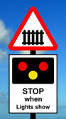 Advance warning of light signals at a Level crossing with barrier or gate ahead — Photo
