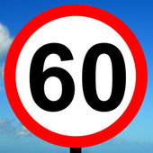 60 mph speed limit sign — Stock Photo