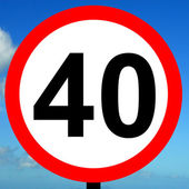 40 mph speed limit sign — Stock Photo