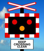 Open Level Crossing without gate or barrier — Stock Photo