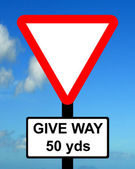 Warning triangle Distance to GIVE WAY sign ahead — Stock Photo