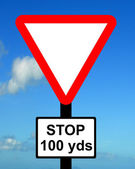 Warning triangle Distance to STOP Sign ahead — Stock Photo