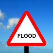 Warning triangle flood — Stock Photo