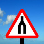 Warning triangle Dual Carriageway ends — Stock Photo
