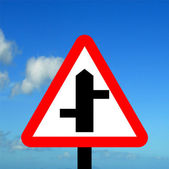Staggered Junction road traffic sign — Stock Photo