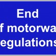 Stock Photo: End of motorway regulations sign