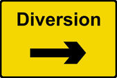 Diversion sign — Stock Photo