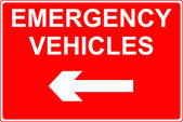 Emergency vehicles sign — Stock Photo