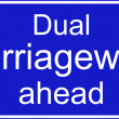 Stock Photo: Dual carriageway ahead sign