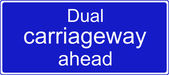 Dual carriageway ahead sign — Stock Photo
