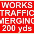 Works traffic merging sign — Stock Photo