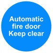 Automatic fire door sign — Stock Photo