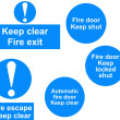 Stock Photo: Fire door signs